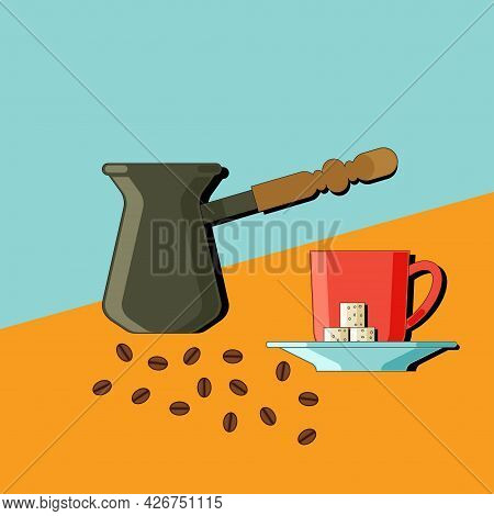 Stylized Still Life With Coffee And Kitchen Utensils. Colorful Flat Illustration. Element For Design