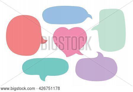 Speech Bubble Chat Pastel Color And Cute Heart Shape, Balloon Speech For Dialog Box, Speech Bubble F