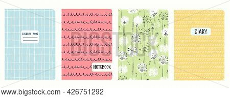 Cover Page Templates Based On Seamless Patterns With Dandelions, Grid, Cursive Imitation. Headers Is