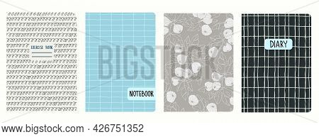 Cover Page Templates Based On Seamless Patterns With Figs, Gridlines, Spiral Lines. Headers Isolated