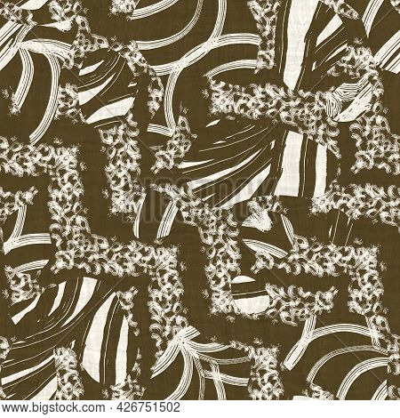 Seamless Two Tone Hand Drawn Brushed Effect Pattern Swatch