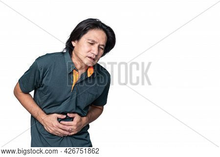 Asian Middle-aged Man, Have Stomach Pain Due To Inflammatory Gastritis On White Isolated Background,