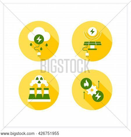 Energy Flat Icons Set. Thunderstorm, Solar, Wind Energy. Fusion Reactor, Thermoelectric Generator. E