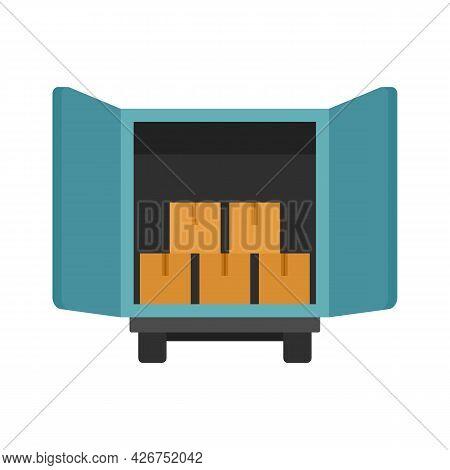 Open Warehouse Truck Icon. Flat Illustration Of Open Warehouse Truck Vector Icon Isolated On White B
