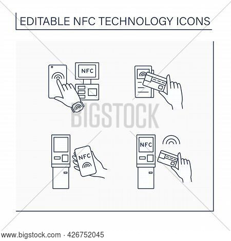 Nfc Technology Line Icons Set. Safety Payment System On Smart Watch Or Mobile Phone. Near Field Comm
