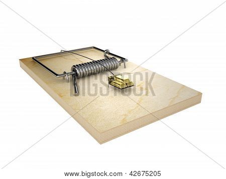 Mousetrap And Gold Ingots.  Isolated On White Background.
