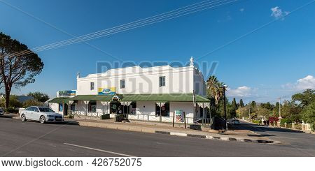 Prince Albert, South Africa - April 20, 2021: A Panoramic Street Scene, With Businesses And Vehicles