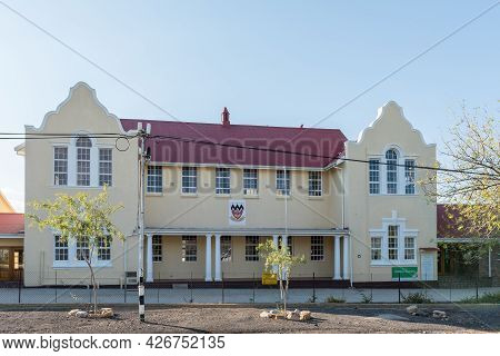 Prince Albert, South Africa - April 20, 2021: A Building Of The Zwartberg High School In Prince Albe