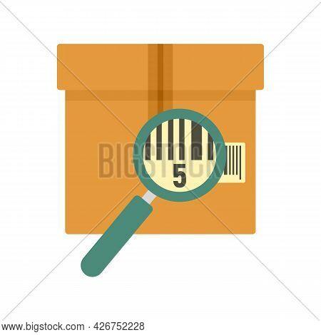 Parcel Under Magnifier Icon. Flat Illustration Of Parcel Under Magnifier Vector Icon Isolated On Whi