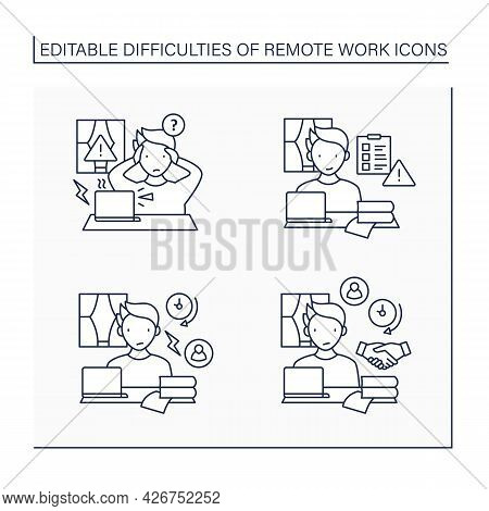 Remote Work Line Icons Set. Equipment Issues, Prioritizing Work.conflict Unaddressed Longer. Career