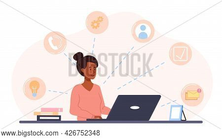 Freelance Worker Concept. A Woman Sits At A Desk And Performs Several Tasks At The Same Time. Multit