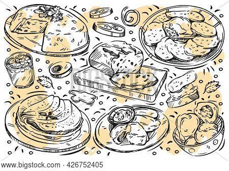Hand Drawn Line Vector Illustration Food On White Background. Doodle Belarusian Cuisine: Kletski, Pa