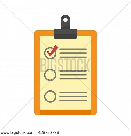 Parcel Checklist Icon. Flat Illustration Of Parcel Checklist Vector Icon Isolated On White Backgroun