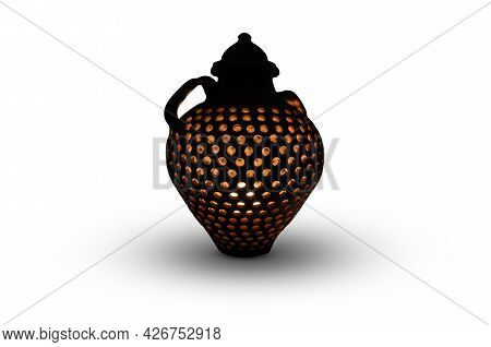 Pot With Light And Holes Over White With Shadow