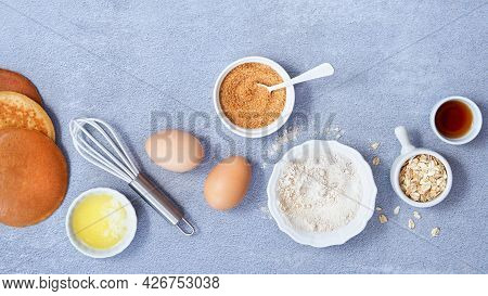 Banner Food Background. Ingredients For Homemade Oat Pancake With Whole Grain Oat, Coconut Sugar, Va