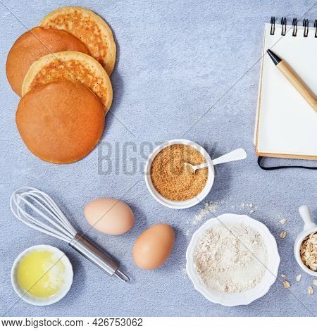Ingredients For Homemade Oat Pancake With Whole Grain Oat, Coconut Sugar, Vanilla Syrup, Organic Egg