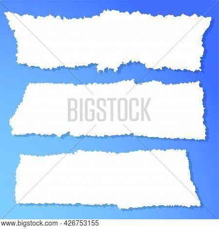 Scrap Paper. Torn Pieces Of White Sheet. Flat Vector Cartoon Illustration.