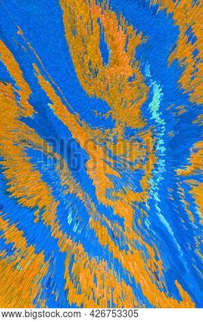Abstract Bright Fluid Blue And Orange Background. Art Trippy Digital Backdrop. Vibrant Banner. Templ
