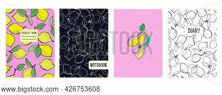 Cover Page Vector Templates With Hand Drawn Lemons. Headers Isolated And Replaceable