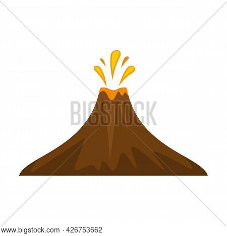 Peru Volcano Icon. Flat Illustration Of Peru Volcano Vector Icon Isolated On White Background