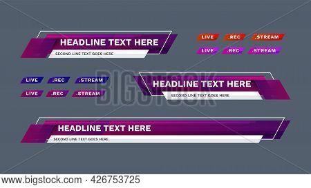 Lower Third Vector Design With Modern. Headline Breaking News Banner Background Template.