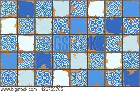 Portuguese Azulejo Vintage Ceramic Tile Pattern. Old Grunge Background With Chipped Enamel Tile. Ita