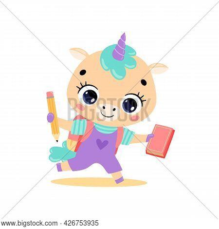 Vector Flat Doodle Illustration Of Cute Cartoon Pony Unicorn Going To School. Animals Back To School