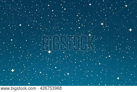 Cosmos Flat Stars. Space Gradient Background. Starry Sky Wallpaper. Galaxy With Stardust. Cosmic Nig