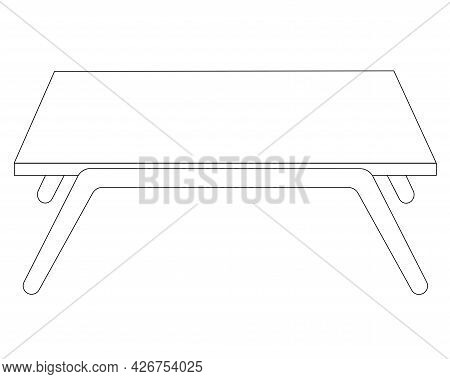 Small Breakfast Table - Vector Linear Illustration For Coloring. Outline. Table For Food In Bed. Leg