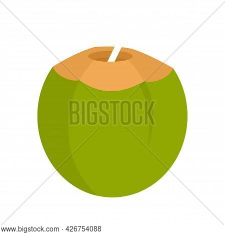 Coconut Cocktail Icon. Flat Illustration Of Coconut Cocktail Vector Icon Isolated On White Backgroun