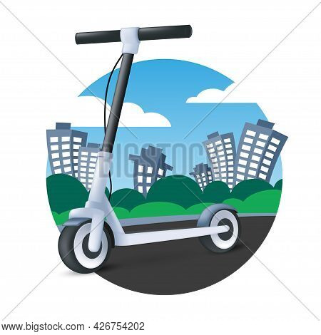 Electric Kick Scooter Riding On Cityscape Background. Modern Vehicle Icon. 3d Cartoon Vector Illustr