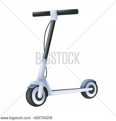 Electric Kick Scooter. Modern Vehicle 3d Icon. Cartoon Vector Illustration Of An Eco Transport Isola