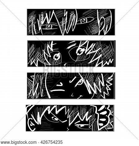 Japanese Anime Manga Vector. Design For T-shirt Graphics, Banner, Fashion Prints, Slogan Tees, Stick