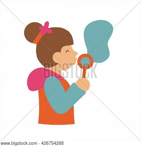 Cute Little Kid Blowing Soap Bubbles Isolated On White Lovely Little Girl Blowing Soap Bubbles In Th