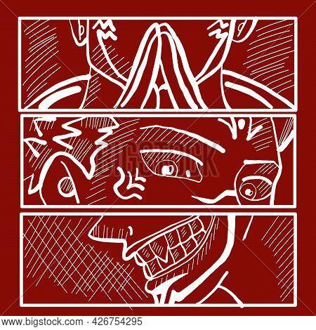 Japanese Manga Face T-shirt Japan Vector Print. Anime Poster. Manga Face Japanese Or Korean Retro Ch