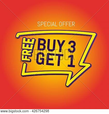 3d Render Of Buy 3 Get 1 In Green Blackground Eps 10