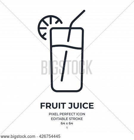 Fruit Juice Editable Stroke Outline Icon Isolated On White Background Flat Vector Illustration. Pixe