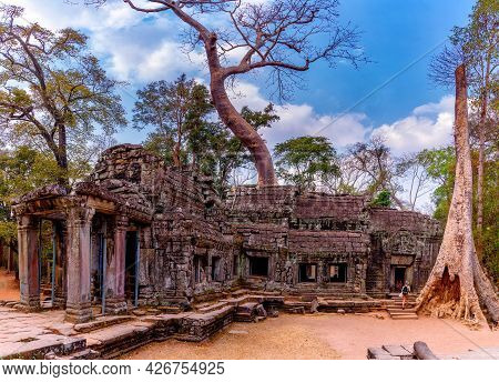 Ta Prohm Temple That Is Deteriorated Over Time Located At Angkor Thom, Siem Reap, Cambodia. Ta Prohm