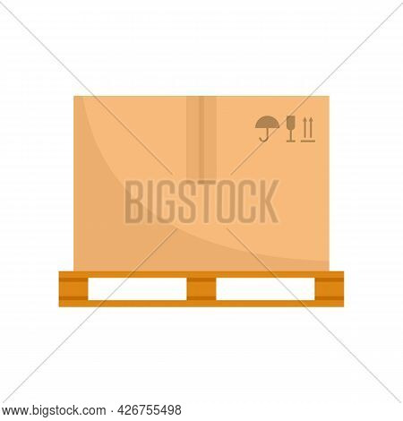 Parcel On Pallet Icon. Flat Illustration Of Parcel On Pallet Vector Icon Isolated On White Backgroun