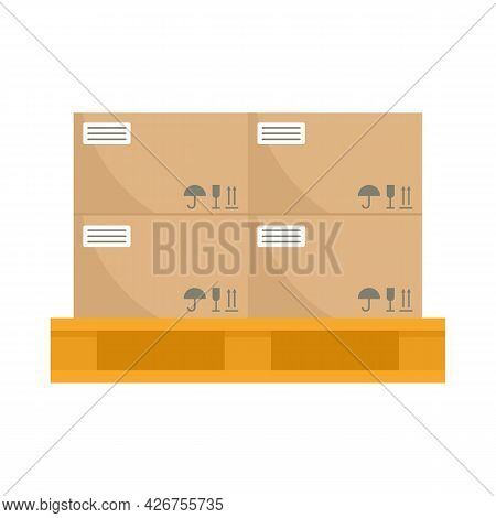 Warehouse Parcel On Pallet Icon. Flat Illustration Of Warehouse Parcel On Pallet Vector Icon Isolate