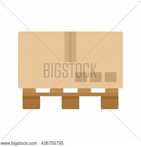 Carton Box Pallet Icon. Flat Illustration Of Carton Box Pallet Vector Icon Isolated On White Backgro