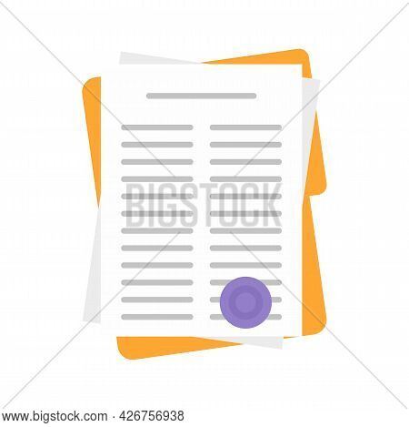 Leasing Papers Icon. Flat Illustration Of Leasing Papers Vector Icon Isolated On White Background