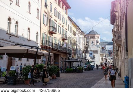Trento, Italy, June 2021. Beautiful View Of One Of The Streets Of The Historic Center That Goes To T