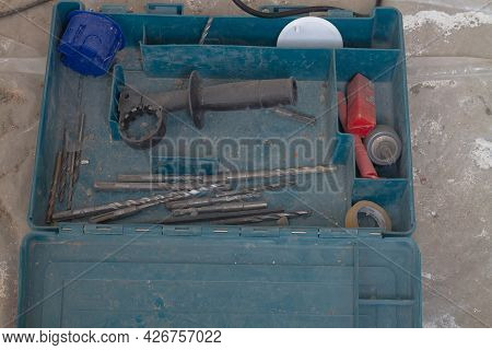 Working Dusty Tools, Drills, Drills, A Puncher In A Tool Case.
