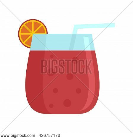 Cocktail Glass Icon. Flat Illustration Of Cocktail Glass Vector Icon Isolated On White Background