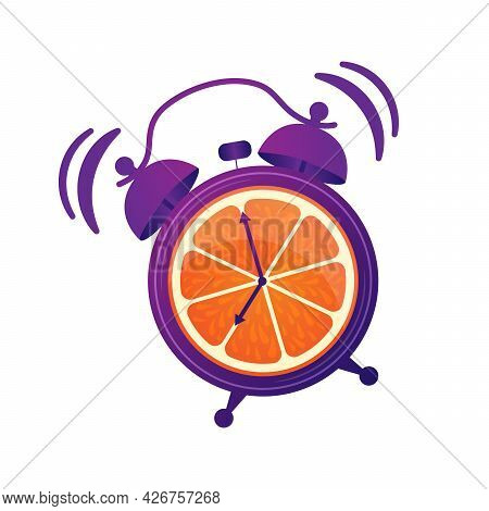 Wake Up. Good Morning. Good Start To The Day. Oranges Juice For Breakfast. Energetic, Vitamin Mornin