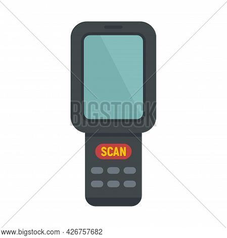 Barcode Scanner Monitor Icon. Flat Illustration Of Barcode Scanner Monitor Vector Icon Isolated On W
