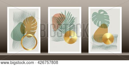 Abstract Geometric, Natural Shapes Poster Set In Mid Century Style. Modern Illustration: Tropical Pa