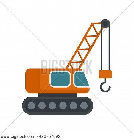 Excavator Construction Crane Icon. Flat Illustration Of Excavator Construction Crane Vector Icon Iso