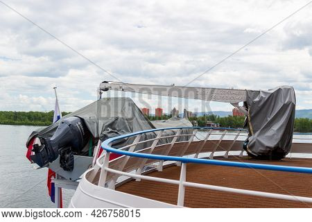 Krasnoyarsk, Russia - June 30, 2021: Sheeted Lifeboat On The Davits Over A Ship Deck